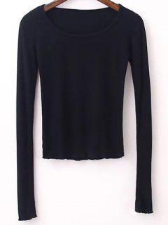 Manga Del Color Sólido Camiseta Larga - Negro S