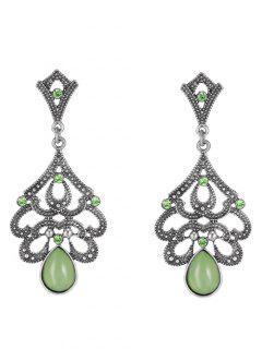 Water Drop Beads Earrings - Green