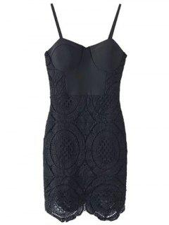 Lace Spliced Spaghetti Straps Padded Dress - Black S