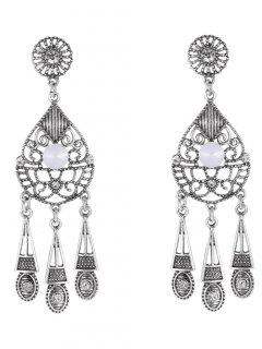 Water Drop Triangle Earrings - Silver