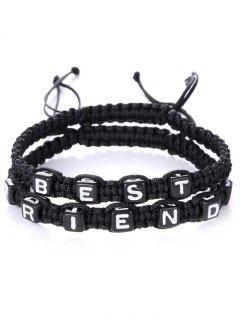 Letters Best Friend Woven Bracelets - Black