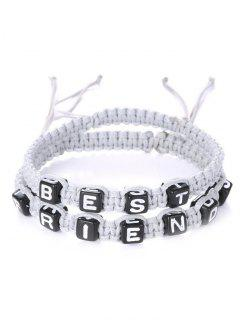 Letters Best Friend Woven Bracelets - White