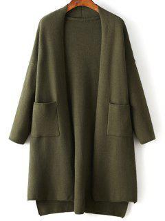 Solide Couleur Manches Longues Haut Bas Cardigan - Vert Armée