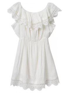 Lace Trim Ruffles Mini Dress - White S