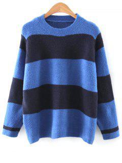 Rayas De Cuello Redondo Del Bloque Del Color Del Suéter - Azul