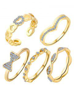 Bowknot Rhinestone Heart Rings - Golden One-size
