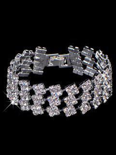 Rhinestoned Wedding Jewelry Bracelet - Silver