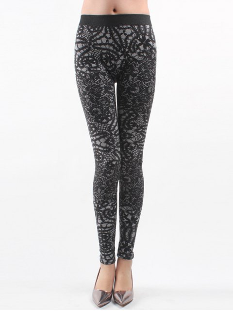 womens Printed Knitted Leggings For Women - BLACK ONE SIZE Mobile