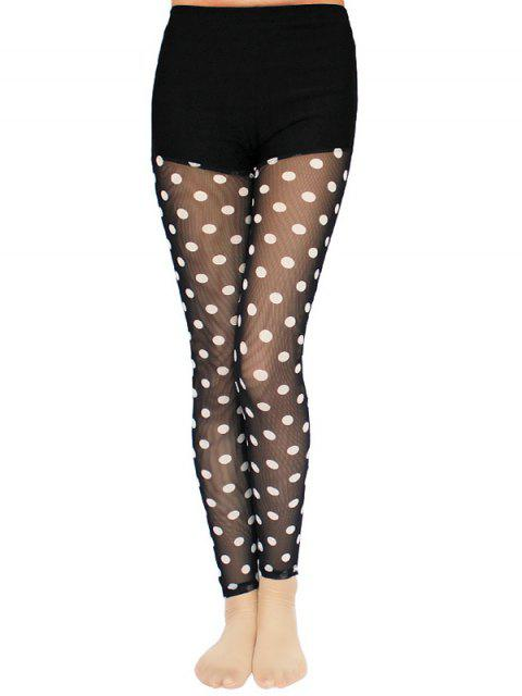 ladies Polka Dot Lace Spliced Leggings - BLACK ONE SIZE Mobile