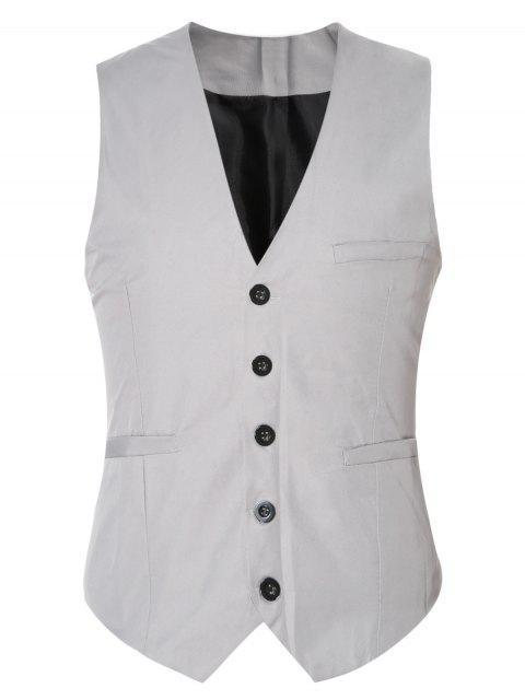 Gürtelschnalle Einfarbig Einreiher Weste für Männer - Grau M Mobile