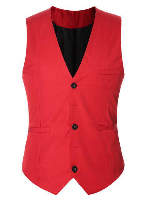 Gilet à Boucle Derrière en Couleur Unie à Boutonnage Simple pour Homme - Rouge 3XL Mobile