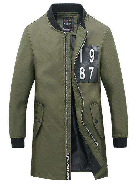 Rib Nombre Cuff Imprimer Snap bouton Manteau de poche pour les hommes - Vert Armée  2XL Mobile