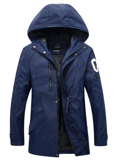 outfit Zippered Snap Button Hooded Coat For Men - BLUE L Mobile