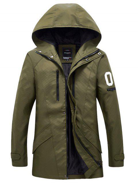 Zippered Snap bouton manteau à capuchon pour les hommes - Vert Armée  5XL Mobile