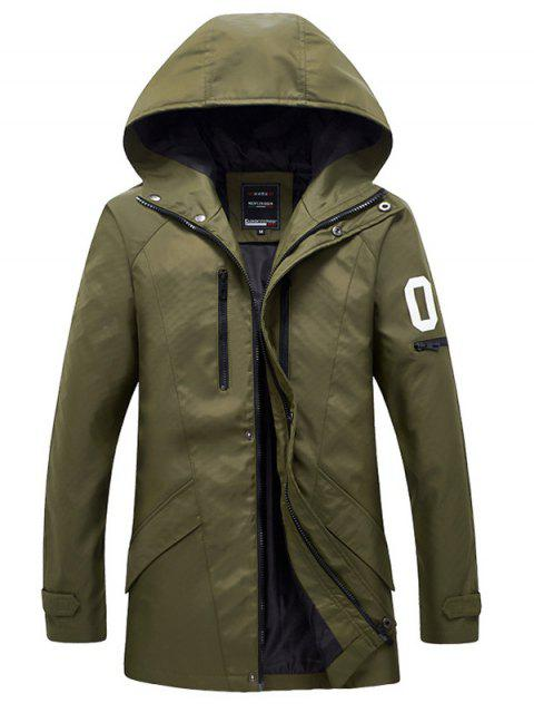 fancy Zippered Snap Button Hooded Coat For Men - ARMY GREEN M Mobile
