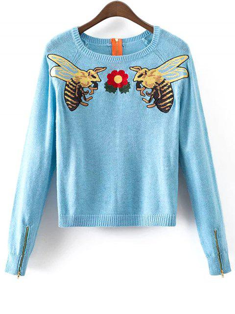 shop Honey Bee Embroidered Sweater - LIGHT BLUE M Mobile