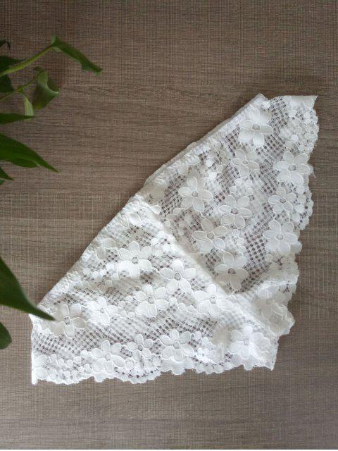 sale Solid Color Lace Hook Panties - WHITE L Mobile