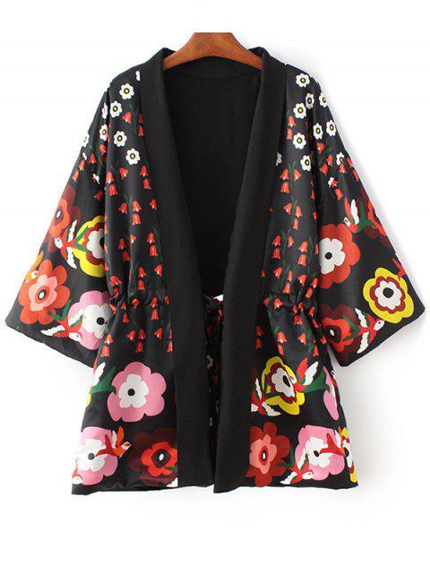 Blumendruck 3/4 Ärmel Taillierte Kimono Mantel - Schwarz M Mobile