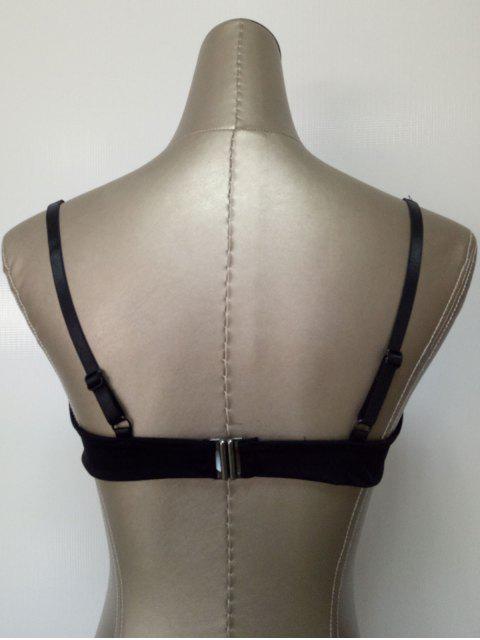 best Black Cutout Strappy Bra - BLACK M Mobile