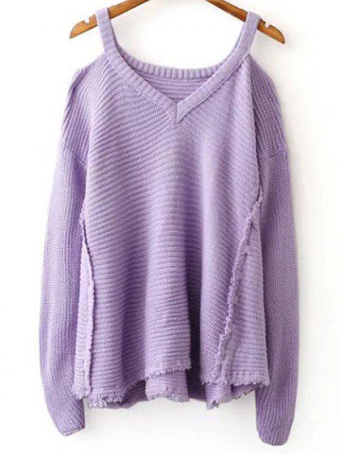 Suéter del color del hombro cuello en V fría sólida - Morado Claro Única Talla Mobile