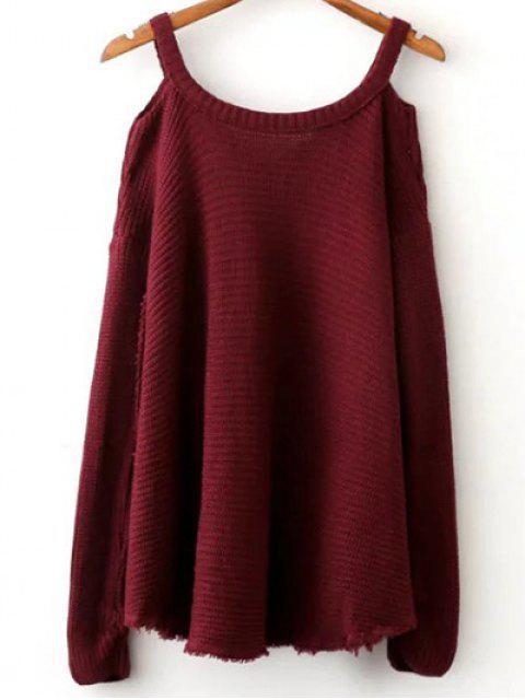 Suéter del color del hombro cuello en V fría sólida - Vino Rojo Talla única Mobile