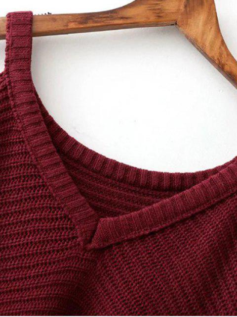 Kalte Schulter Pullover mit Rissen - Kaffee Eine Größe Mobile