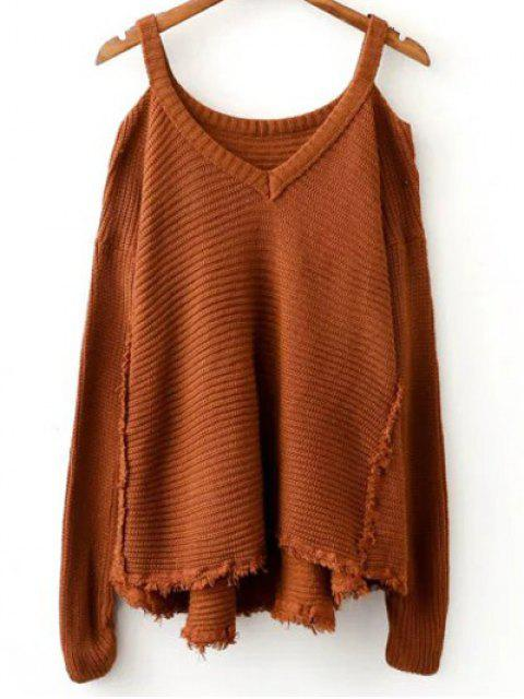 sale Distressed Cold Shoulder Sweater - COFFEE ONE SIZE Mobile