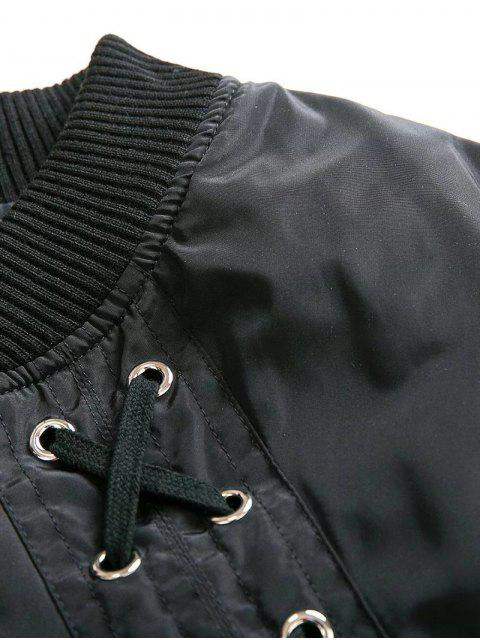 affordable Lace Up Stand Neck Zipper Jacket - WINE RED L Mobile