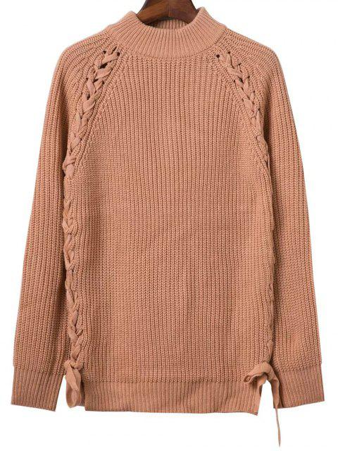 affordable Lace Up Mock Neck Solid Color Sweater - KHAKI ONE SIZE Mobile