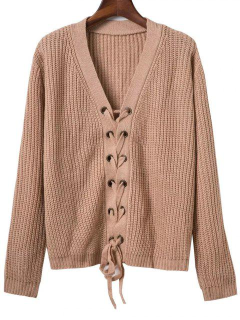 women Lace Up Solid Color V Neck Sweater - DARK KHAKI ONE SIZE Mobile
