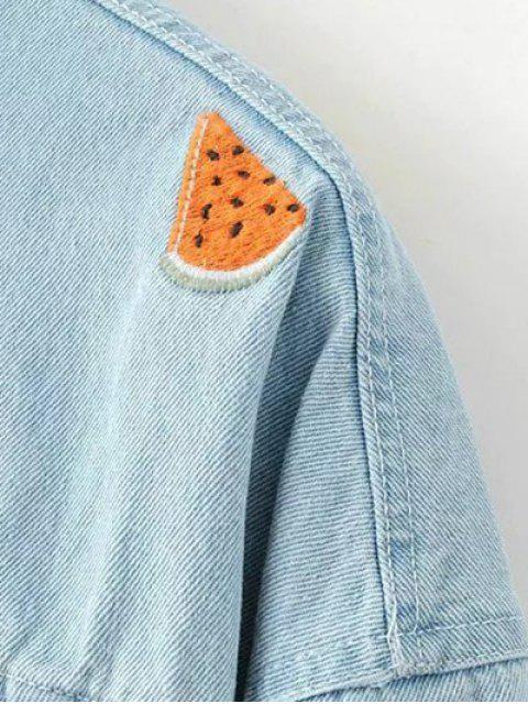 unique Watermelon Embroidery Denim Jacket - LIGHT BLUE M Mobile