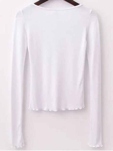 buy Solid Color Long Sleeve T-Shirt - WHITE S Mobile
