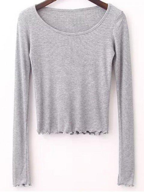 T-shirt à couleur pure à col rond à manches longues - Gris M Mobile