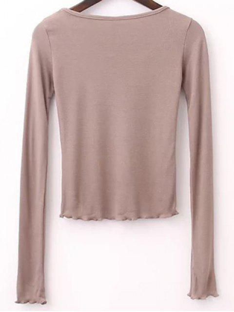 lady Solid Color Long Sleeve T-Shirt - LIGHT KHAKI M Mobile