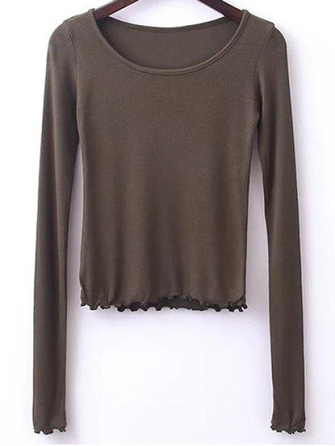 new Solid Color Long Sleeve T-Shirt - ARMY GREEN S Mobile