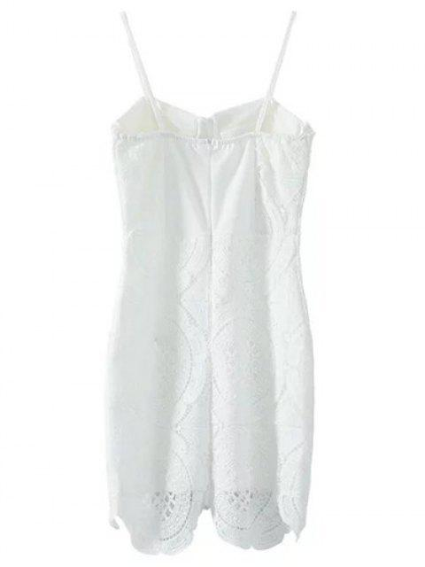 shops Lace Spliced Spaghetti Straps Padded Dress - WHITE M Mobile