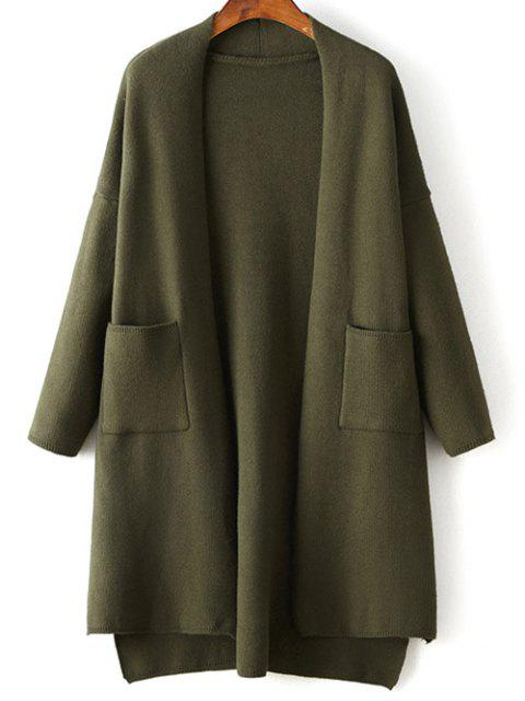 outfits Solid Color Long Sleeve High Low Cardigan - ARMY GREEN ONE SIZE Mobile