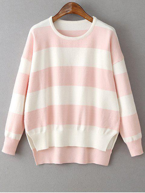 latest High Low Hem Round Neck Striped Sweater - LIGHT PINK ONE SIZE Mobile