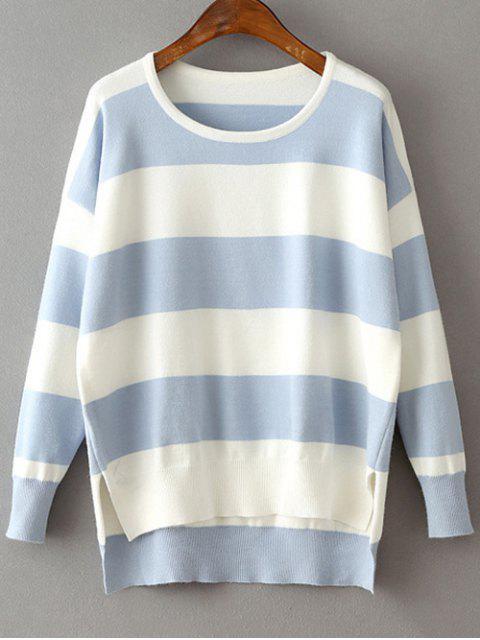 Alto Bajo Hem cuello redondo suéter rayado - Azul Claro Única Talla Mobile