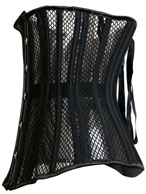 latest Underbust Strapless Hollow Out Black Corset - BLACK XL Mobile