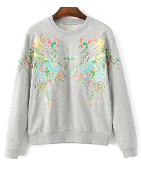 latest Round Neck Phoenix Embroidery Sweatshirt - LIGHT GRAY M Mobile