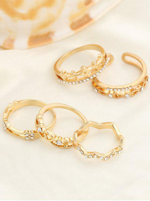 ladies Rhinestone Heart Rings - GOLDEN ONE-SIZE Mobile