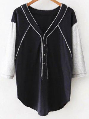 Hit Color V Neck 3/4 Sleeve T-Shirt - Cadetblue M