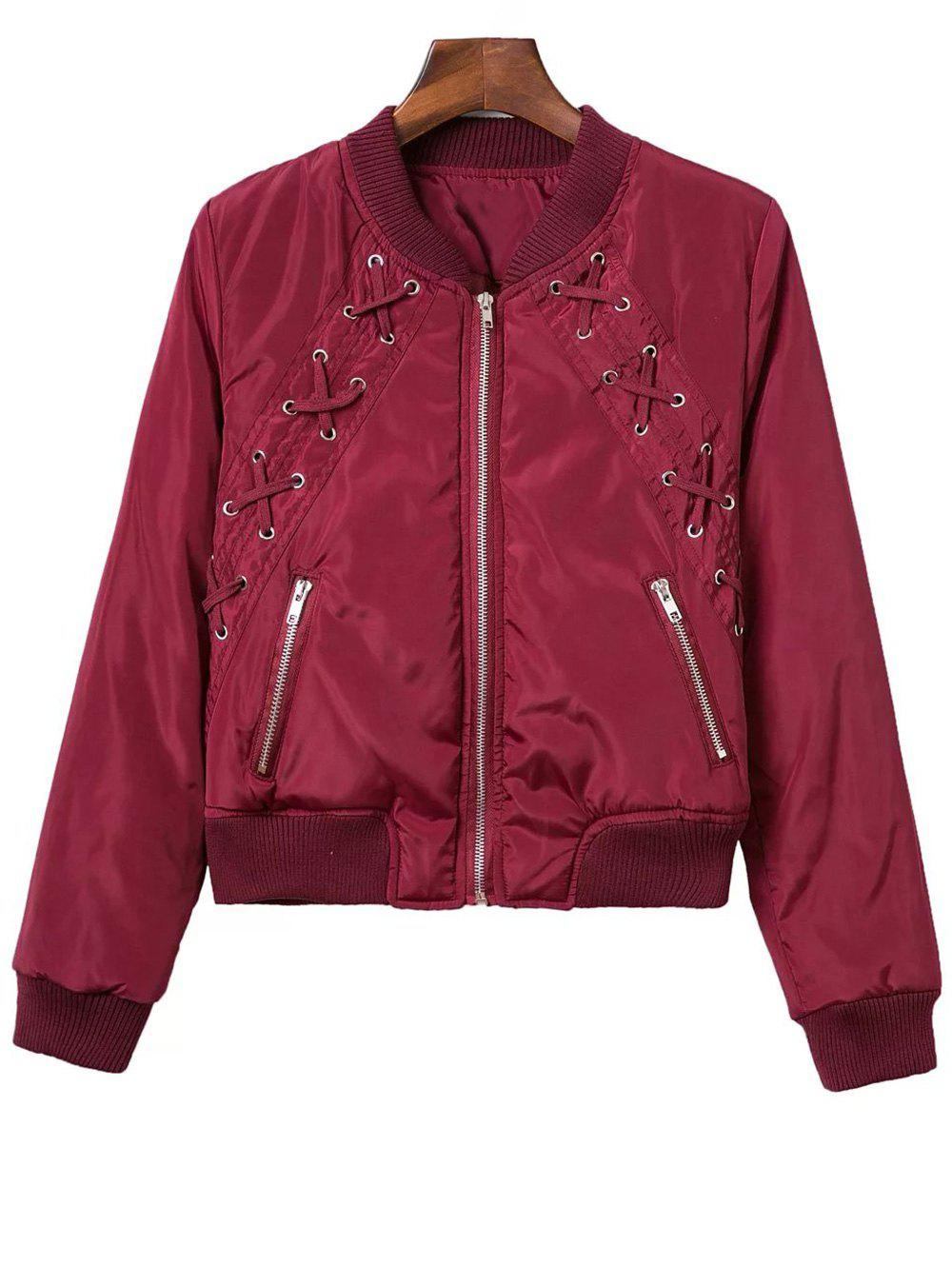 Lace Up Stand Neck Zipper Jacket