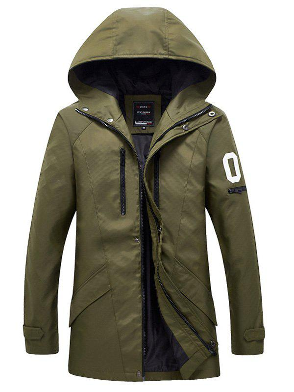 Zippered Snap Button Hooded Coat For Men 190130422