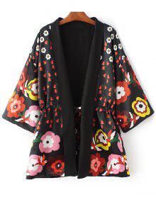 Floral Print 3/4 Sleeve Waisted Kimono Coat - Black M