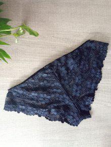 Solid Color Lace Hook Panties - Black S