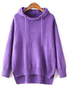Hooded Uneven Hem Sweater - Purple
