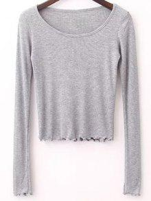 Solid Color Long Sleeve T-Shirt - Gray M