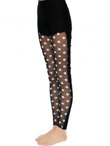 def6af1a9 28% OFF] 2019 Polka Dot Lace Spliced Leggings In BLACK | ZAFUL